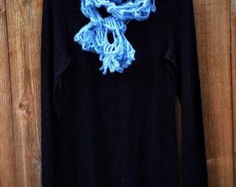 Crochet Lacy Scarf Unique Handmade Sky-Blue Vintage Style Long Wrap