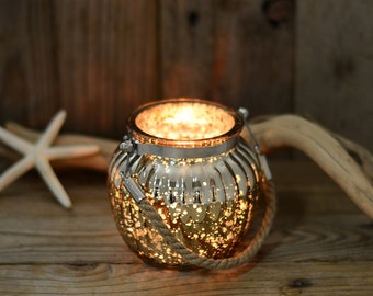 Pair Of Mercury Glass Hanging Candle Holders - Rope Handle