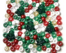 Christmas Pony Beads, Acrylic Green Trees, Red Glitter, Gold, Silver, White, Stretch Bracelet Plastic Lacing Ponies Jewelry Stocking Stuffer