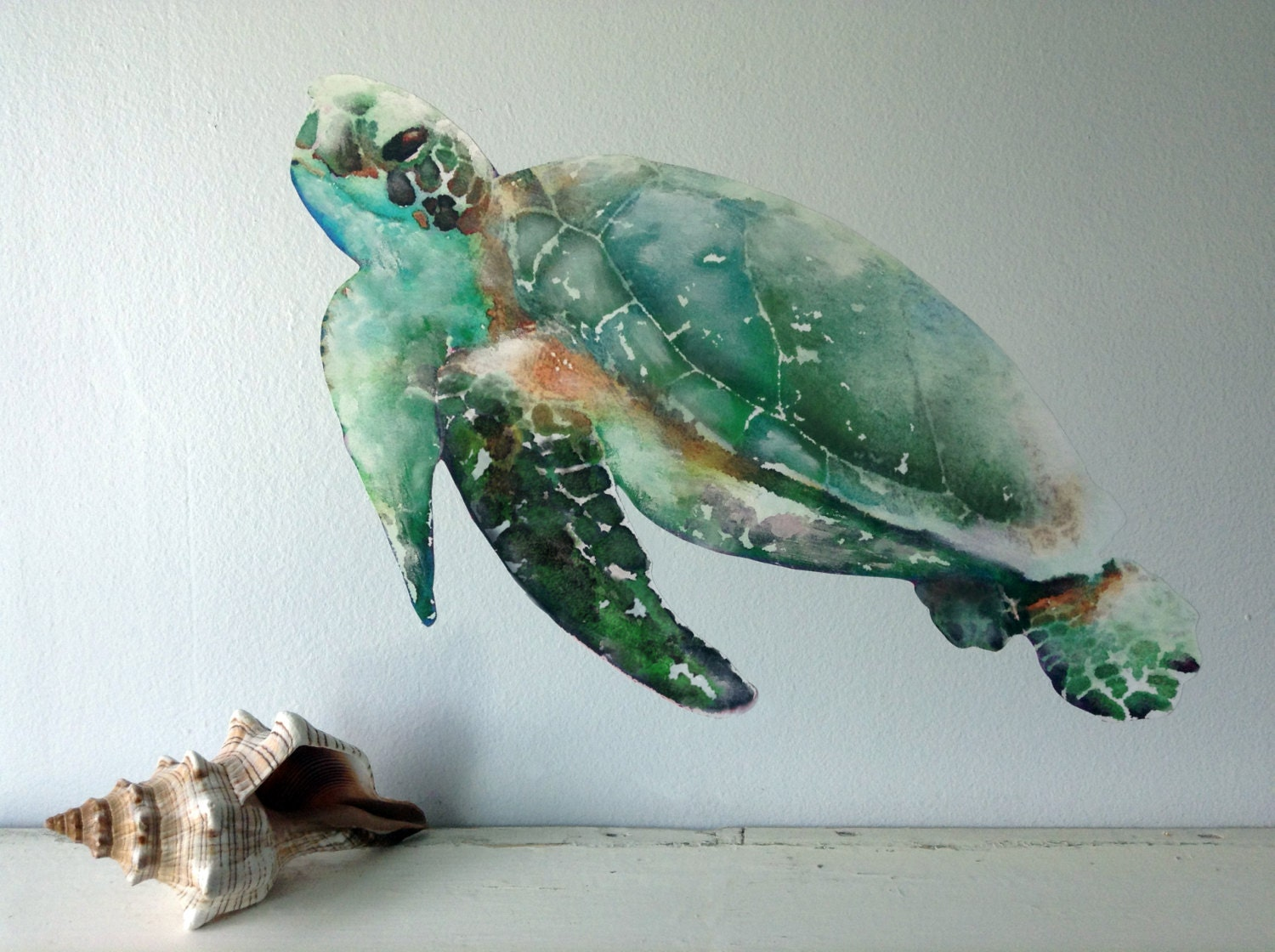 Sea Turtle Wall Decal Watercolor Fabric Wall Sticker Not