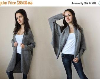 SALE 25% Loose sweater Plus size sweater Knit cardigan Cozy Multi size Gray sweater Long sweater coat Short overcoat Womens sweaters