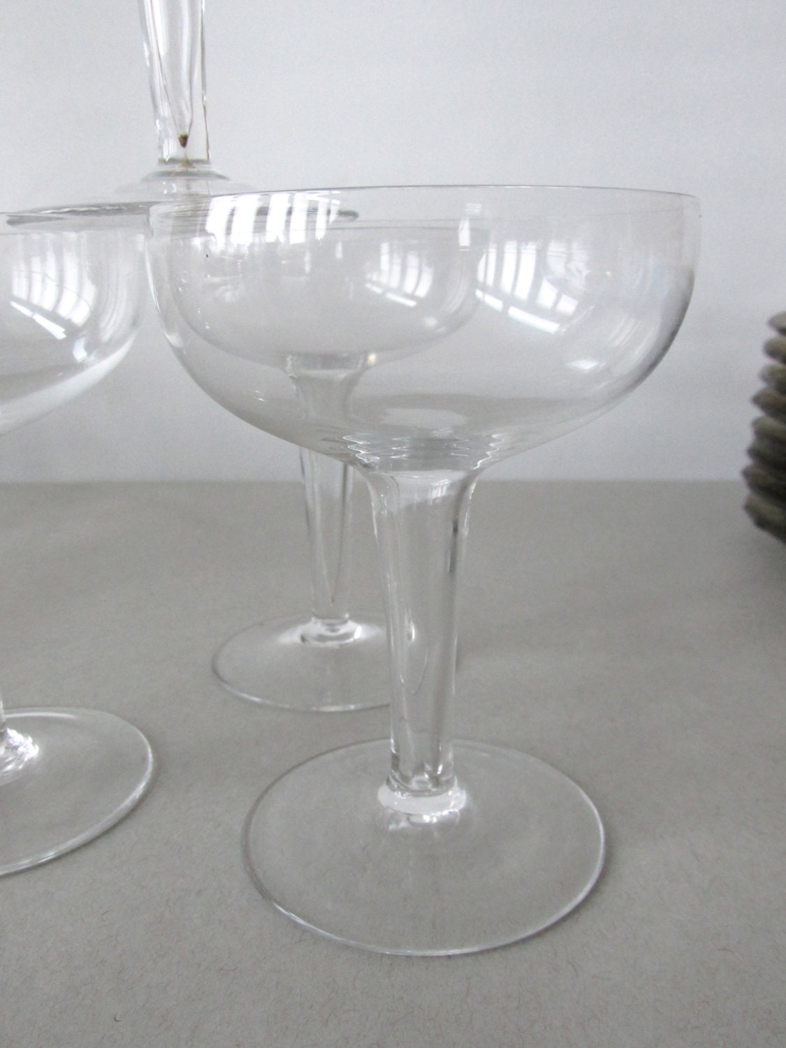 Vintage hollow stem glass champagne coupes champagne glasses - Hollow stem champagne glasses ...
