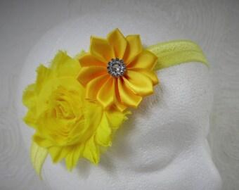 Yellow Baby Headband, Baby Girl Headband, Baby Flower Headband, Newborn Headband, Little Girl Headband, Satin Flower Headband, Shabby Chic