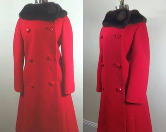 60s Red Coat Wool and Mink M/L