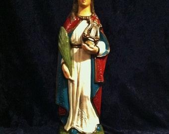 Rare Vintage Chalkware Saint Cecilia,  Patron Saint Of Musicians