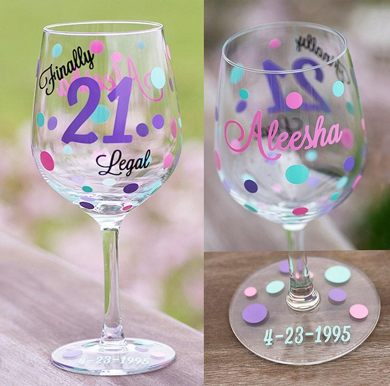 21 Birthday Wine Glass 18.5 Oz. Birthday Gift Finally 21