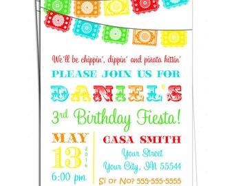 Mexican Fiesta Invitation - Papel Picado Bunting Personalized Birthday Invitation - You Print- Cinco de Mayo Birthday Invitation