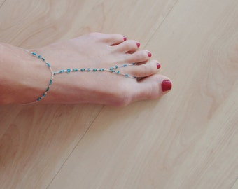 Turquoise anklet with Sterling Silver