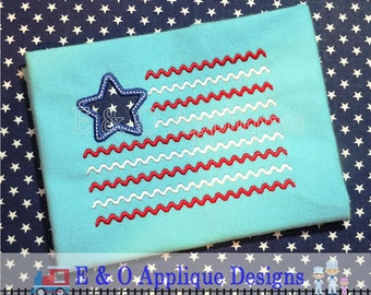American Flag Embroidery Design - Chevron Flag Embroidery Design - 4th of July Embroidery - Patriotic Applique Design - Patriotic Embroidery