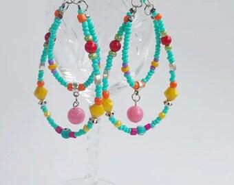 Long beaded earrings - Bohemian Gypsy Jewelry - Hippie Beaded - bohemian style - Statement - chandelier earrings - Bohemian Gypsy - boho