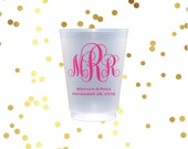 Monogrammed plastic cup, personalize shatterproof cup, reception cups, wedding favors, reception cups, script monogram cups, frost flex cups