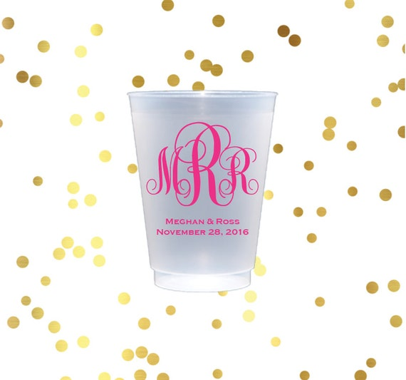 Monogrammed plastic cup, personalize shatterproof cup, reception cups, wedding favors, reception cups, script monogram cups, frost flex cups