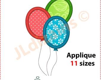 Balloons Applique Design. Ballons embroidery design. Birthday balloons applique Balloon applique Ballon embroidery Machine embroidery design
