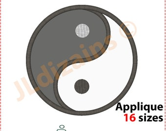 Yin Yang Applique Design. Yin Yang embroidery design. Embroidery pattern yin yang. Machine embroidery design