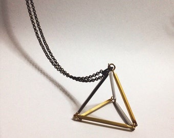 Triangle necklace 3D design geometric minimal jewelry, Bar Tubes Gold,  Silver Charm, Antique bronze, Trending, Gift for her,Long necklace