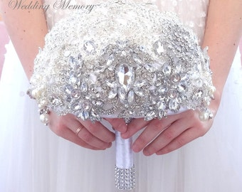 White crystal brooch bouquet. Bridal wedding bling jeweled alternative silver ivory broach boquet.