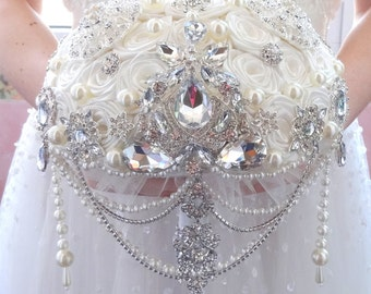 BROOCH BOUQUET  ivory color, silver jeweled with crystals and bling jewlery for wedding