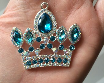 P117 Turquoiuse Rhinestone Royal Princess Crown Pendant for Chunky Necklaces
