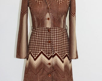 Vintage Dress in Geometric 70's print