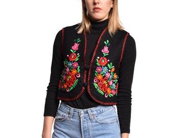 Embroidered Hungarian Vest 70s Vintage Floral Embroidery Black Wool Vest Bohemian Folk Gilet Boho Hippie XS