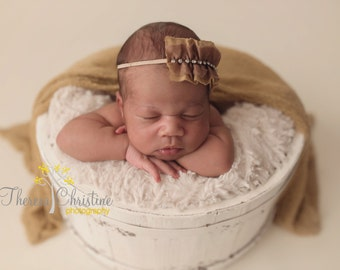 Brown chiffon ruffle vintage inspired headband with rhinestones. Baby headband. Newborn headband. Newborn photo prop.