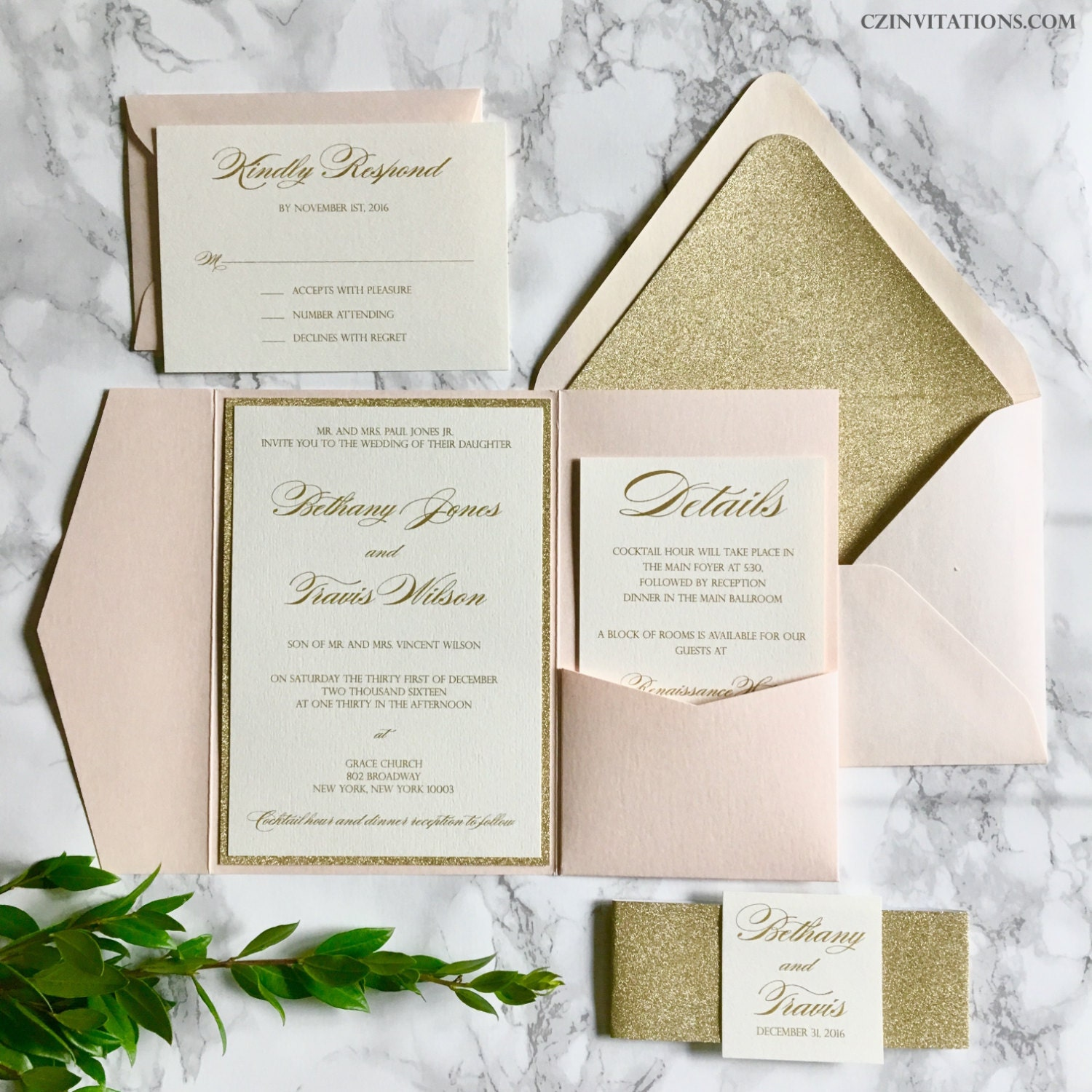 blush and gold glitter pocket wedding invitations with glitter