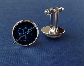 Caffeine cufflinks, coffee cufflinks, blue cufflinks  science cufflinks, men gift, photo cufflinks, minimalistic, modern
