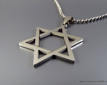 Star of David pendant stainless steel hexagram with chain