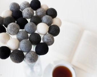 Wool Felt Ball Flowers. Pom Pom Flowers. Wool Craspedia. Billy Buttons Balls. Home Decor. Black. Grey. White. Monochrome Minimalist. Posies