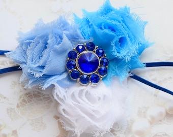 Blue Flower Headband, Blue Headband, White Flower Headband, White Headband, Blue and White Flower Headband, Baby Headband, Girls Headband