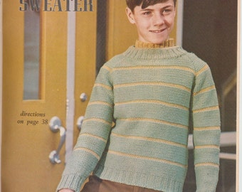 Knit boys sweater pattern vintage 1969 1960s instant download