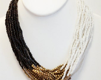 White, Gold and Black Beaded  Necklace /  Multi Strand / Statement Necklace / Bib Necklace