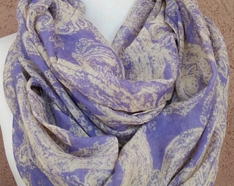 Lilac and Beige Infinity Scarf / Fabric Scarf / Gift for Her / Gift Ideas.