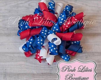 Red, White, and Blue Korker Bow - Patriotic Hair Bow - July 4th Bow - Red, White, and Blue Curly Bow (Item #10314)