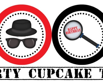 Printable Spy Secret Agent Party Cupcake Toppers Party Circles Favor Tags Stickers