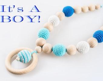 It's A BOY Nursing Necklace, Teething Ring Necklace, Wood Ring Teething Necklace, Natural Baby Teether, Breastfeeding & Babywearing Jewelry