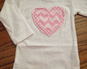 Infant Girl Onesie with Raggy Heart Applique