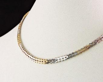 """Sterling Silver V Link Tri Color Textured Necklace 16"""""""