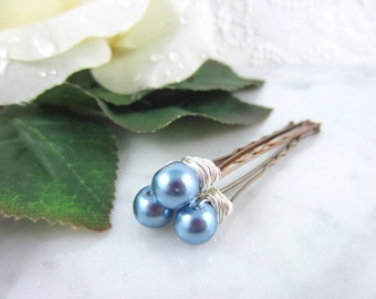 Pearl Hair Pins - Silver Pearl Hair Pins - Powder Blue Hair Pins - Blue Pearl Hair Pins - Wedding Hair Accessories - Bridal Hair Pins