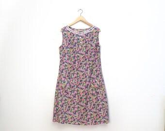 Vintage 1960s Cotton Bold Floral Print Dress, Size L