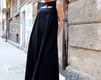 Black Dress / Kaftan / Long Dress / Linen Dress Women / Maxi Dress / Summer Dress / Sleeveless Dress / Plus Size Caftan by CARAMELfs D29016