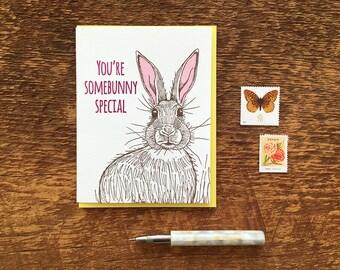 You're Somebunny Special, Bunny Rabbit Card Letterpress Note Card, Blank Inside