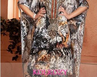 Saudi Kaftan Dress - Arabic Style Multi Color Handmade Free Size Kaftan