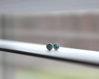 Turquoise Earrings || 4mm Turquoise Earrings. Turquoise Studs.