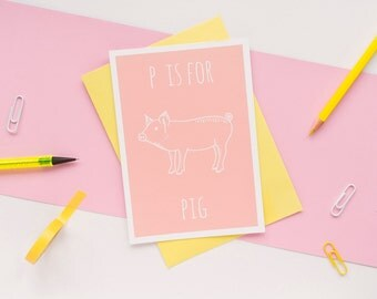 Pig Card. Animal Alphabet Card. 100% Recycled Card & Envelope