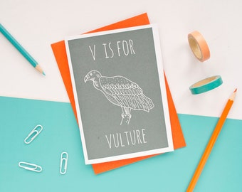 Vulture Card / Animal Alphabet Card / Animal Alphabet / Blank Greeting Card / Notecard / Animal Card / Vulture Birthday Card