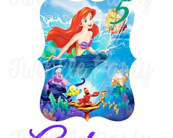 Personalized Little Mermaid Digital Image, Ariel, for T shirt, Printable Iron On Transfer Sticker, for custom Birthday Shirt