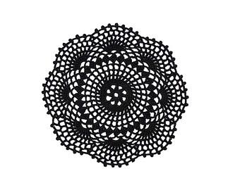Crochet Placemat, Black Crochet Doily, Black Lace Doily, Hand Crochet Lace Doily, Round Crochet doily