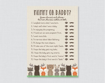 Woodland Mommy or Daddy Baby Shower Quiz - Baby Shower He Said She Said Game - Woodland Themed Baby Shower Phrases Quiz Game - 0010
