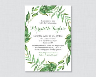 Green Baby Shower Invitation Printable or Printed - Green Botanical Wreath Baby Shower Invites, Simple, Gender Neutral Shower Invite - 0056